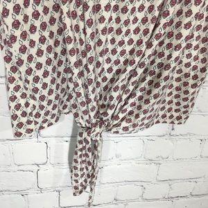 Lucky Brand Tops - LUCKY BRAND Tie Waist Flutter Floral Top Blouse 1X